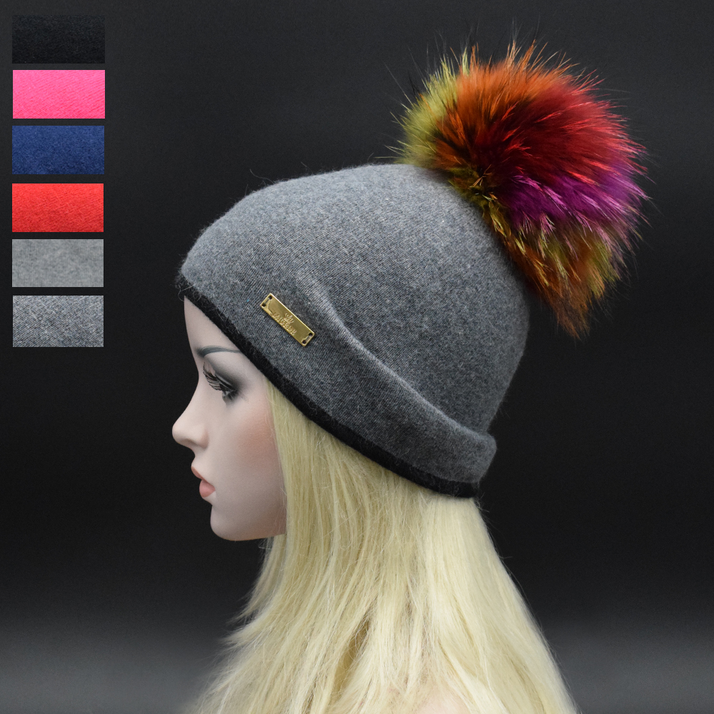 2017 Winter Luxury top 22cm Colorful raccoon fur pompoms Women Beanie hat Double knitting wool hat