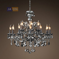 E14 led Amerikanischen RH Eisen Kristall Smoky Grau Kronleuchter Beleuchtung Suspension Leuchte Lampen Lustre Für Esszimmer