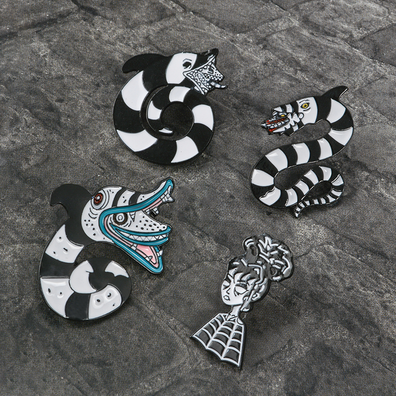 Beetlejuice Sandworm And Lydia Deetz Enamel Pin Brooches Horror Comedy Movie Pins Badge Gifts For Women Men Beetlejuice Jewelry Brooches Aliexpress