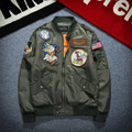 2016 European and American Style Spring and Autumn Men's New Wave Air Force Embroidery Badges Jacket