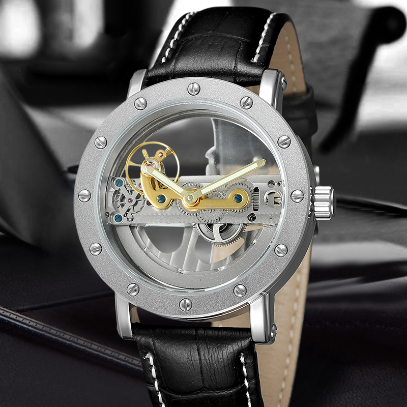 FORSINING Brand Hollow Automatic Mechanical Watch Men Fashion Leather Band Wristwatches Business Casual Men's Clock forsining fashion brand men simple casual automatic mechanical watches mens leather band creative wristwatches relogio masculino