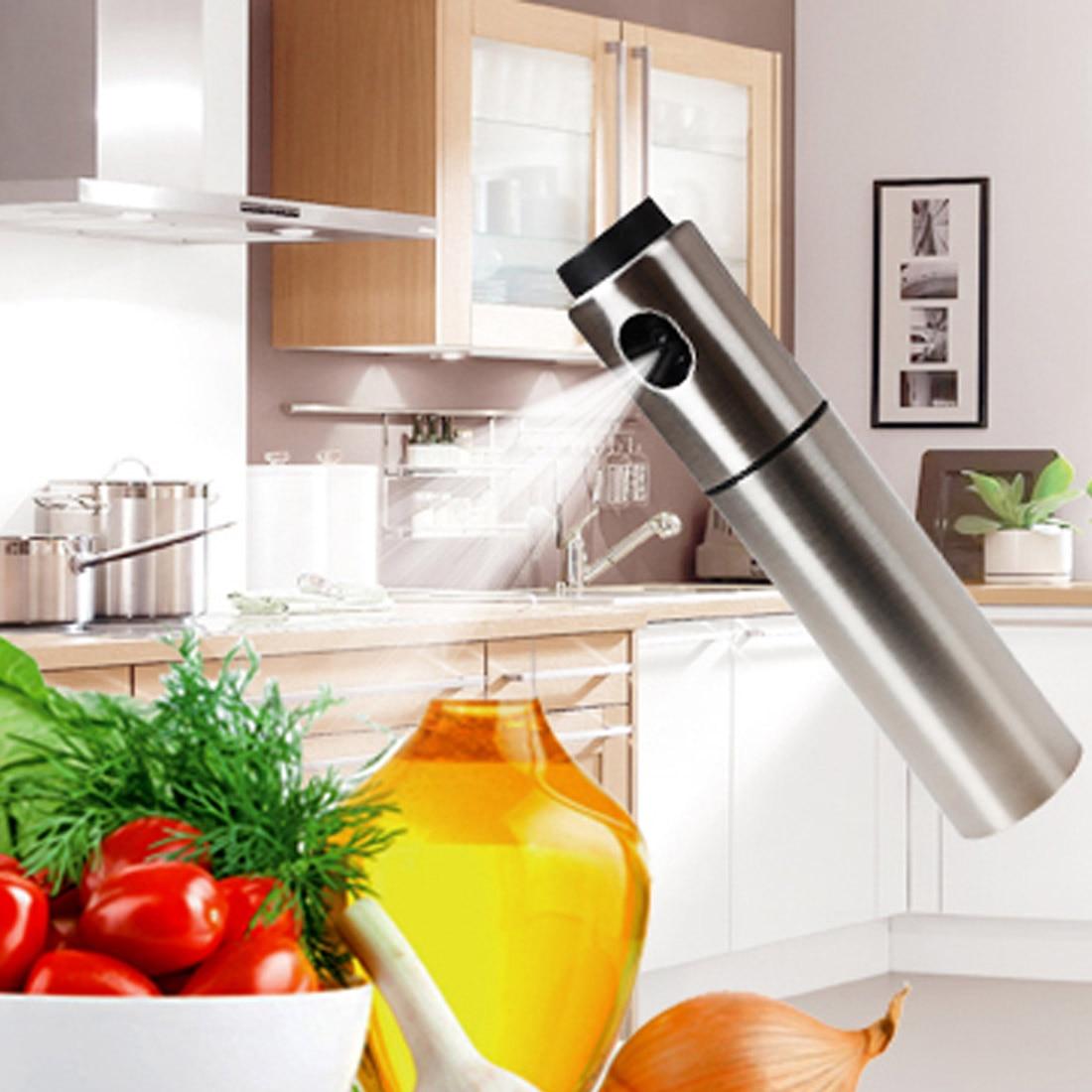Новый Стиль серебро Нержавеющаясталь оливковое насос распыления масла бутылки опрыскиватель может Нефть jar горшок инструмент может горшок Кухонная посуда Кухня Инструменты