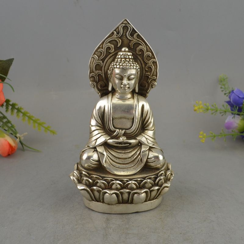 Chinese Buddhism Brass Silver Sit Lotus GuanYin Kwan-yin Goddess Buddha StatueChinese Buddhism Brass Silver Sit Lotus GuanYin Kwan-yin Goddess Buddha Statue