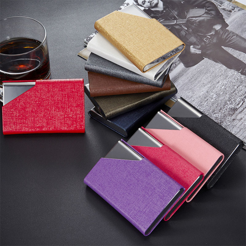Fashion Brand Metal Aluminum Business ID Credit Card Holder For Women Men Small Card Wallet Case Business Credit Card Holder itopkris business id credit card holder for women men fashion brand metal aluminum card case pu leather porte carte