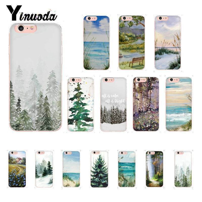 US $0 5 49% OFF|Yinuoda Watercolor Art tree line painting DIY Printing  Drawing Phone Case for iPhone8 7 6 6S 6Plus X XS MAX 5 5S SE XR 10 Cover-in