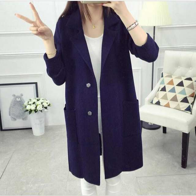 d0c74e98eff 2018 Winter Long Sweater Coat for Women Turn Down Formal Long Cardigans  Christmas Sweaters Oversized Coat