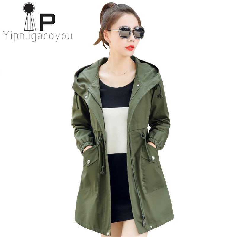 Pink Long Windbreaker Women Coat Spring Autumn Plus size Slim High Quality Fashion Hooded   Trench   Coat Women Yellow Overcoat 3XL