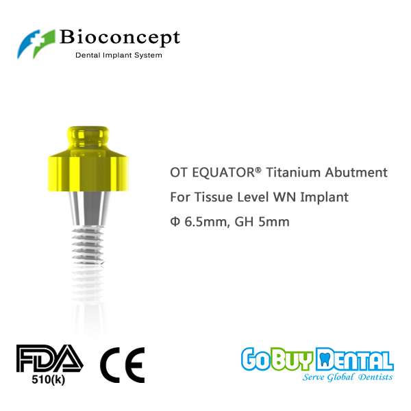 OT EQUATOR Titanium Abutment, D6.5mm, GH 5mm, for Straumann Tissue Level WN Implant(034240-1) ot equator titanium abutment d4 1mm gh 6mm for staumann bone level rc implant