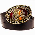 New fashion metal buckle belt for men exaggerated style punk rock belts indian head Men's leather belt hip hop waistband