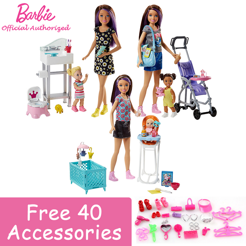 Original Barbie Skipper BabySitters 3 Style poupée jouets apprentissage prendre soin du bébé comme une mère avec de nombreux accessoires pour cadeau