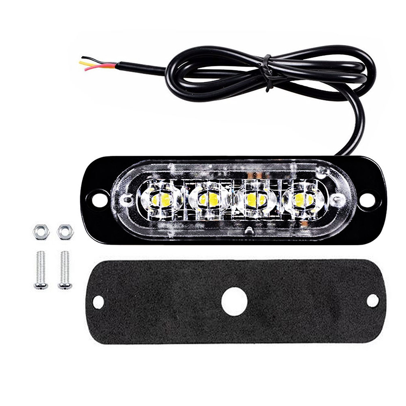 10Pcs Amber 4 LED Car Truck Flash Emergency Beacon Light Bar Strobe Warning Lamp warning light