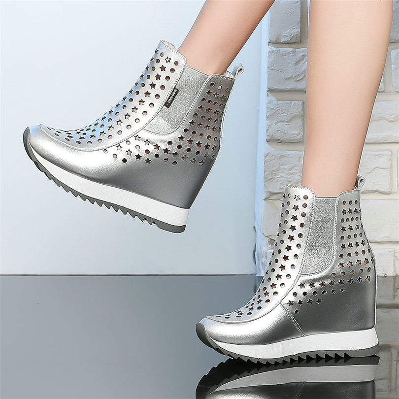 NAYIDUYUN    Women Trainers Genuine Leather Wedges Platform High Heel Ankle Boots Summer High Top Pumps Round Toe Punk Sneakers