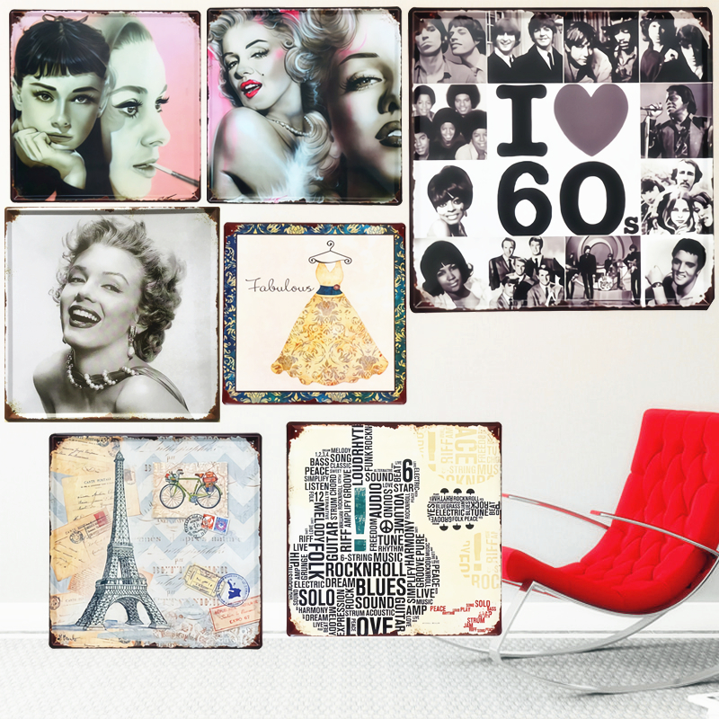 US $8 35 42% OFF|30x30cm I Love 60s Vintage Metal Plates Pub Bar Decoration  Plaque Monroe Taylor Wall Stickers Karaoke Poster Signs Home Decor-in