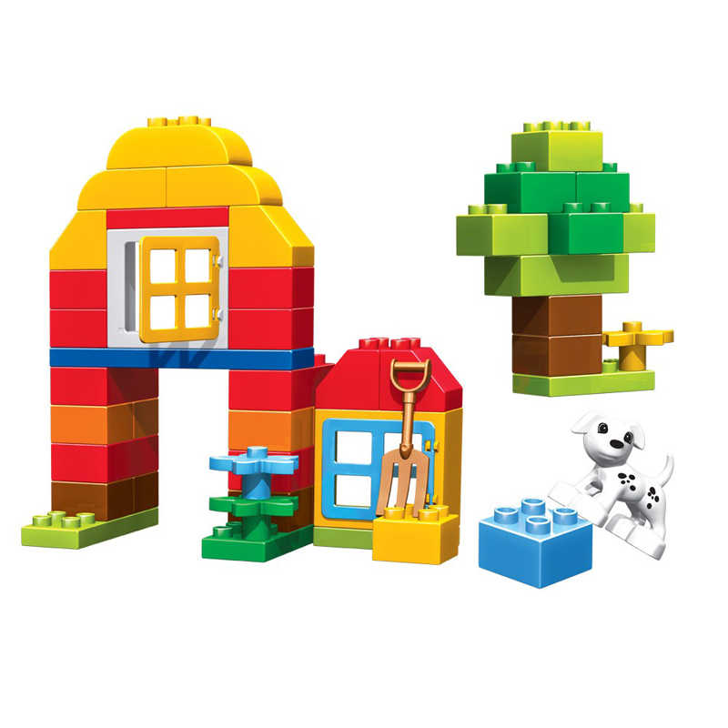 QWZ 90 шт. Happy Farm животные строительные блоки наборы больших частиц животных Модель Кирпичи совместимы с legoeINGly Duplo опорная плита