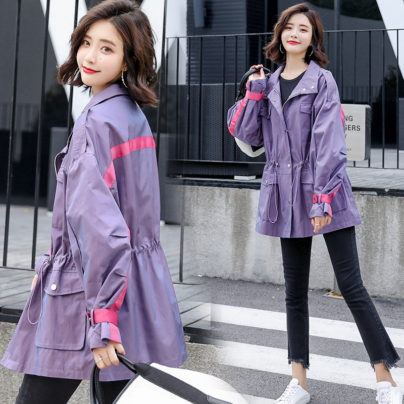 Windbreaker Female Spring Autumn 2019 New Casual Large Size Waist Drawstring Pocket Loose Short   Trench   Coats Women Top X871