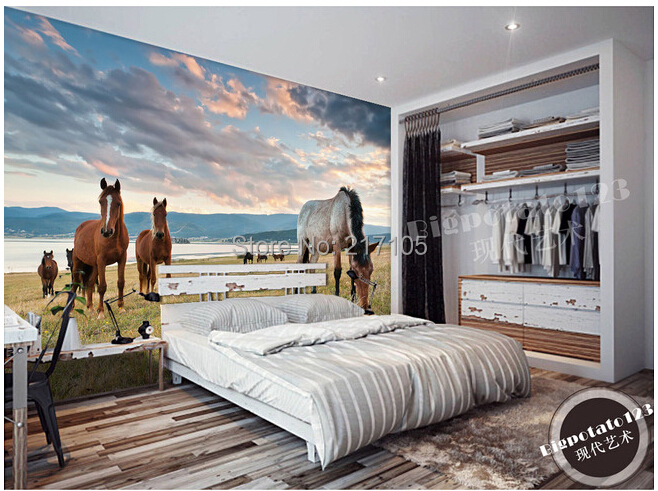 Custom photo wallpaper Lake steppe horse for the living room bedroom TV setting wall vinyl wallpaper Papel de parede custom european style wallpaper marilyn monroe for the sitting room the bedroom tv setting wall vinyl which papel de parede