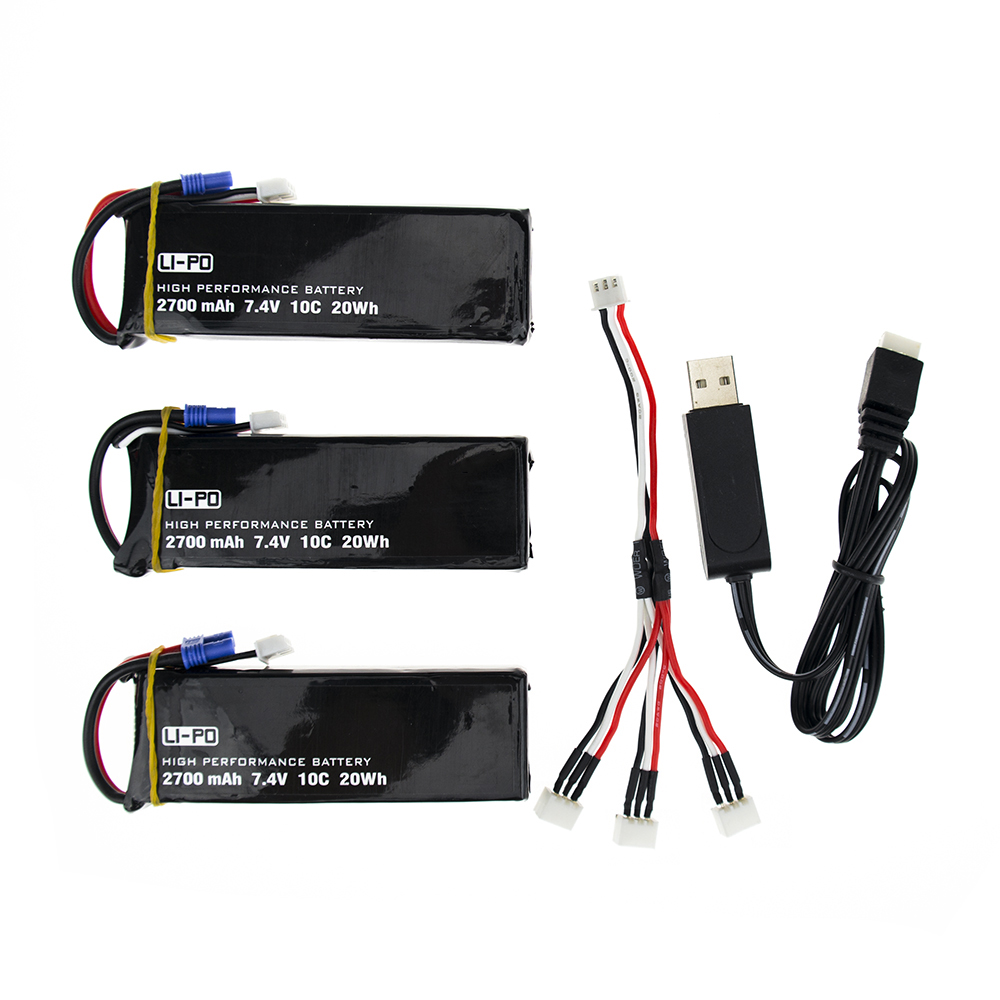 Hubsan H501S X4 7.4V 2700mah lipo battery 10C 3pcs and USB charger for Hubsan H501C rc Quadcopter Airplane drone Parts accessories battery charger for quacopter 3 pc black 7 4v 2700mah 10c battery with ec2 plug for hubsan h501s x4 jy4