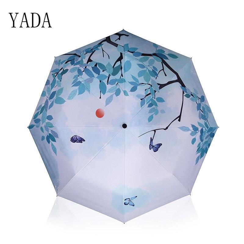 YADA Charms DIY Folding butterfly Umbrella Rain Women uv High Quality For Womens brand Windproof Custom Umbrellas YS112
