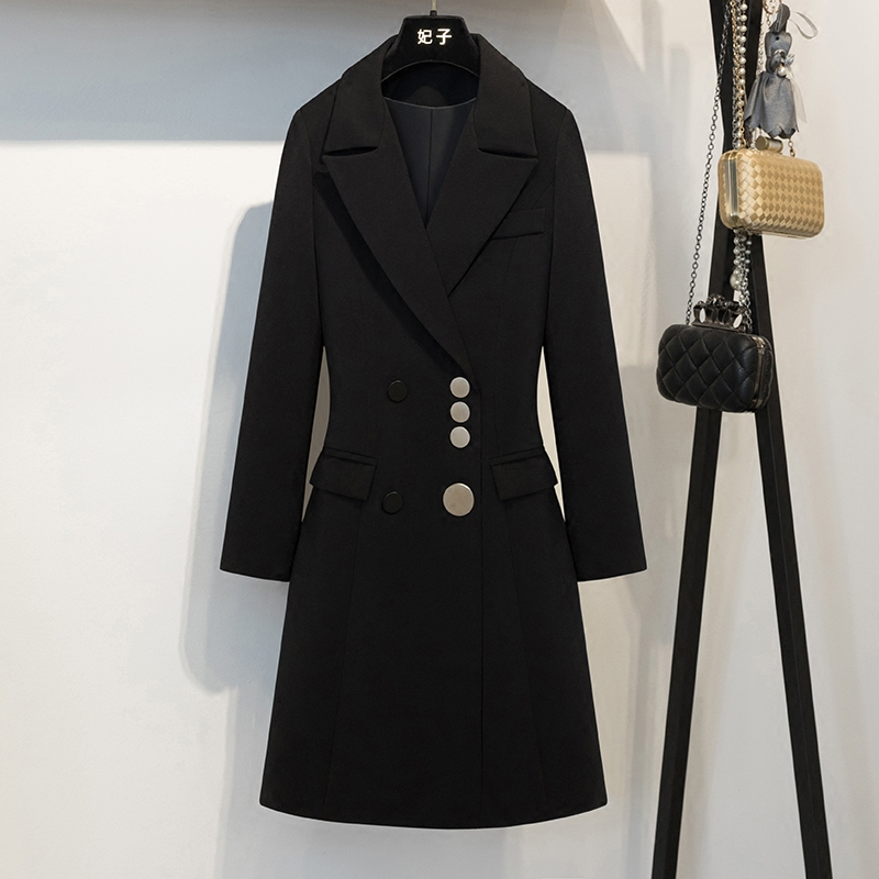Blazer Suit Women Black Coat Single Breasted And One Big Button Pockets Full Sleeve Turn Down Collar Fit and Flare Long length