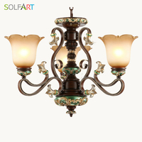 9001 European Classical Style Red Bronze Green Resin Metal With Frosted Glass Shade Bedroom Small Led