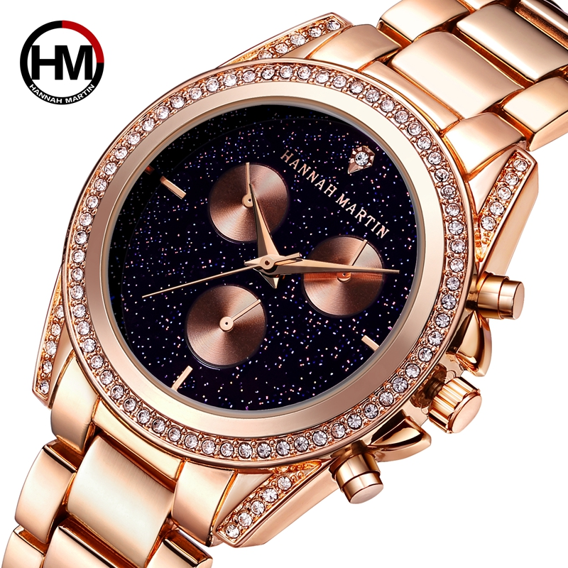 New Design Rose Gold Women Watch Japan Quartz Movement Rhinestones Luxury Diamond Ladies Waterproof Casual Creative Wristwatch