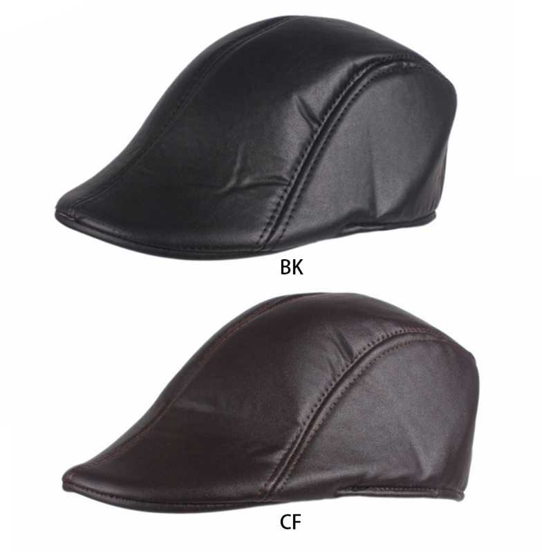 bed83ca454c82 Fashion New Men's Solid Faux Leather Duckbill Beret Caps Unisex Vintage  Retro Newsboy Flat Golf Cabby Hat Driving Solid Color