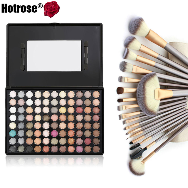 Hotrose Professional Makeup Tool Kits 18pcs Synthetic Hair Makeup Brushes with Eyeshadow Palette Neutral Warm Style for Beauty