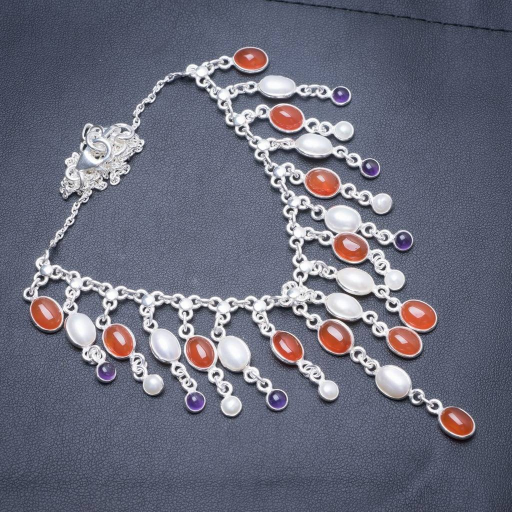 цена на Natural Carnelian,River Pearl and Amethyst Handmade Unique 925 Sterling Silver Necklace 17.5
