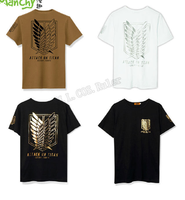 New Attack on Titan Shingeki no Kyojin  Black White Brown T-shirt Eren Jaeger Cosplay Costume 100% Cotton