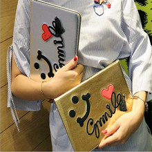 Earthly gold Embroidered smiling face pattern leather cover for ipad 2 3 4 common brand quality tablet case with smart sleep