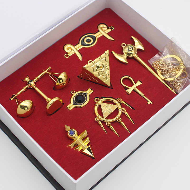 Yugioh Millennium Treasures Necklace Pendant Weapons Collection Set Muto Yugi Golden Cosplay Emperor's Key Yu-Gi-Oh! Gifts