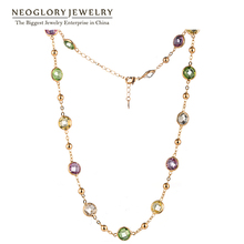 Neoglory MADE WITH SWAROVSKI ELEMENTS Crystals Light Yellow Gold Color Choker Chain Maxi Long Necklaces For Women 2017 New
