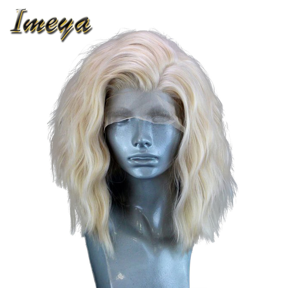Imeya Short Bob Wavy Blonde Hair Color Lace Front Wigs Synthetic High Temeperature Heat Resistant Fiber Wigs For Women