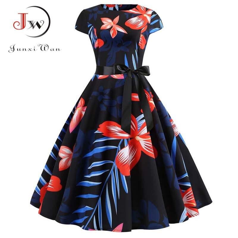 Women Vintage Dress 2019 Summer Floral Print Short Sleeve Dresses 50s 60s Office Party Rockabilly Swing Retro Pinup Plus Size 3