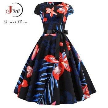 Women Vintage Dress 2019 Summer Floral Print Short Sleeve Dresses 50s 60s Office Party Rockabilly Swing Retro Pinup Plus Size 4