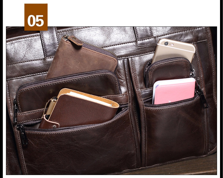 Topdudes.com - Natural Soft Genuine Leather Business Briefcase