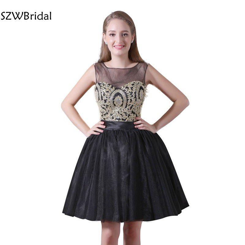 New Arrival Cap sleeve Black   Cocktail     dresses   Lace Appliques Beaded Vestidos de coctel jurken Prom   dresses   Plus size