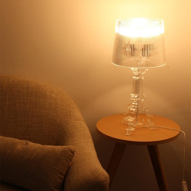 """Image 3 - Przezroczysty akrylowy 20 """"wysoki akcent lampa stołowa przezroczysta lampka nocna LED kryształ sypialnia lampka nocna salon wtyczka do usa ue E27Lampy stołowe   -"""