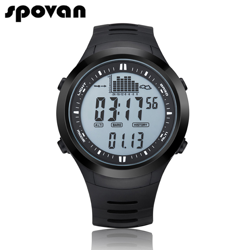 SPOVAN Men Sports Watches Digital Fishing Remind Air Pressure Measurement Multi-Function Outdoor Altimeter Waterproof Watch homeleader 7 in 1 multi use pressure cooker stainless instant pressure led pot digital electric multicooker slow rice soup fogao
