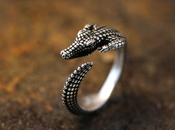 Adjustable Retro Crocodile Ring Alligator Ring Antique Silver Animal Ring Free Size gift idea fashion