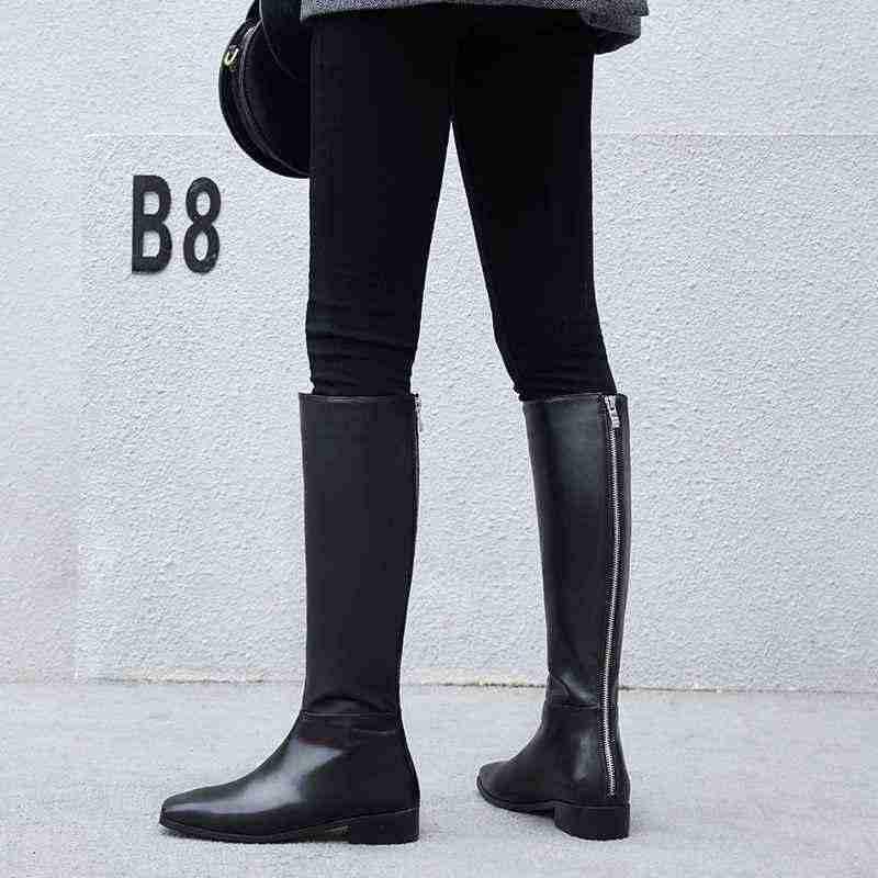 Krazing Pot echt leer big size dikke knappe lange laarzen med hak vierkante teen vrouwen warm houden riding knie- hoge laarzen L0f8