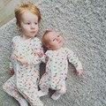Nueva primavera y otoño muchachos de los bebés de manchas de Color ropa de algodón de manga larga con cremallera de impresión Del Mameluco Del Mono infantil pijamas