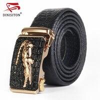 DINISITON Crocodile Pattern Genuine Leather Automatic Belt For Men Simulation Crocodile Strap Alligator Head Cintos AT
