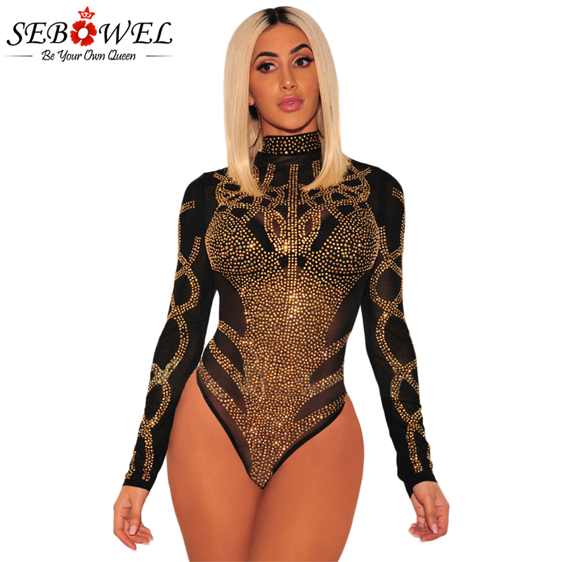 SEBOWEL Black Gold Rhinestone Mesh Bodysuit Sexy Women Long Sleeve Sheer Mesh Jumpsuit Romper Club Body Combinaison Femme 2019