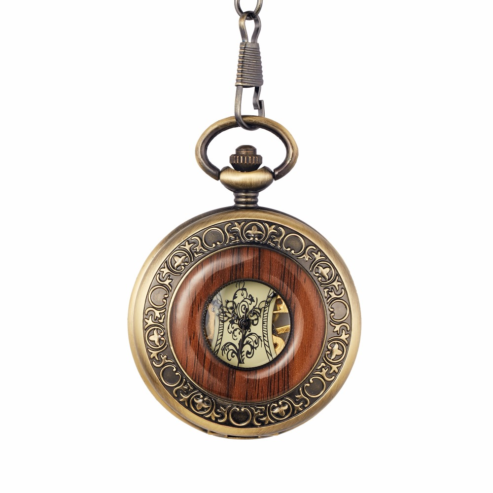 Box Package Solid Wood Mechanical Pocket Watch FOB Chain Locket Dial Hollow Steampunk Skeleton Men Women Mens Male Clock Watches 13