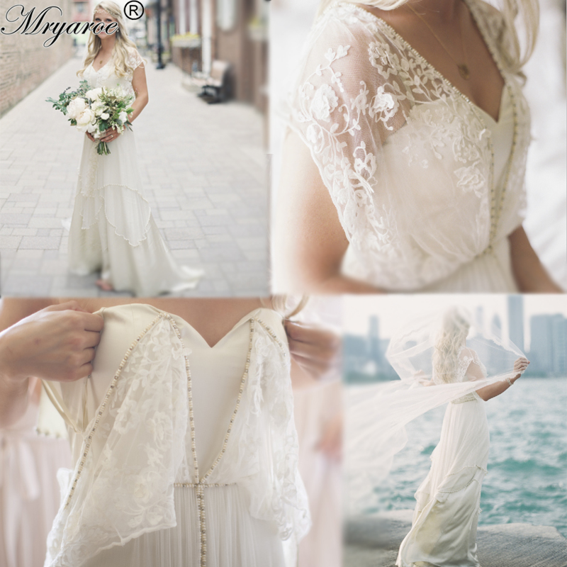 Unique style bohemian chic vintage wedding dresses 2017 Hippie vintage wedding dresses