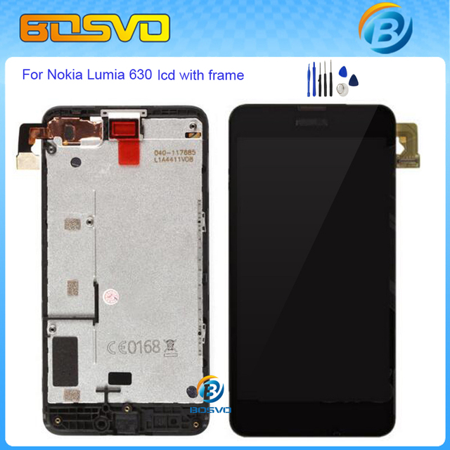 100%Guarantee Replacement full screen for Nokia Lumia 630 630N LCD display+touch digitizer+frame assembly free shipping+tools