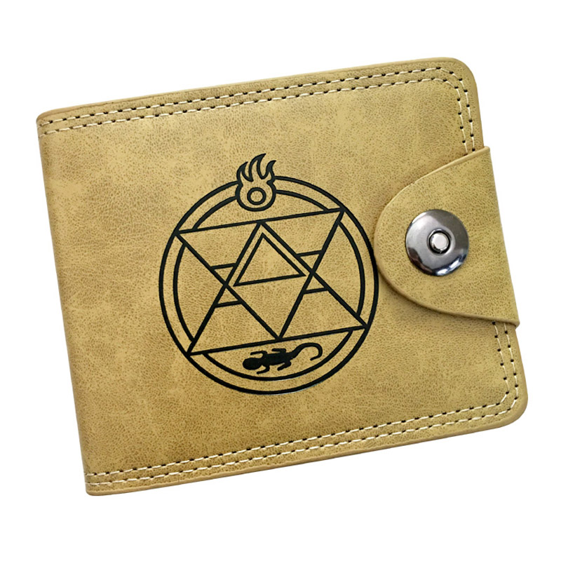 Fullmetal Alchemist Edward Elric Anime Wallet PU Leather Khaki Color Short Bifold Purse Card Holder of Button Money Bag anime fullmetal alchemist edward elric cosplay full metal alchemist cosplay costume