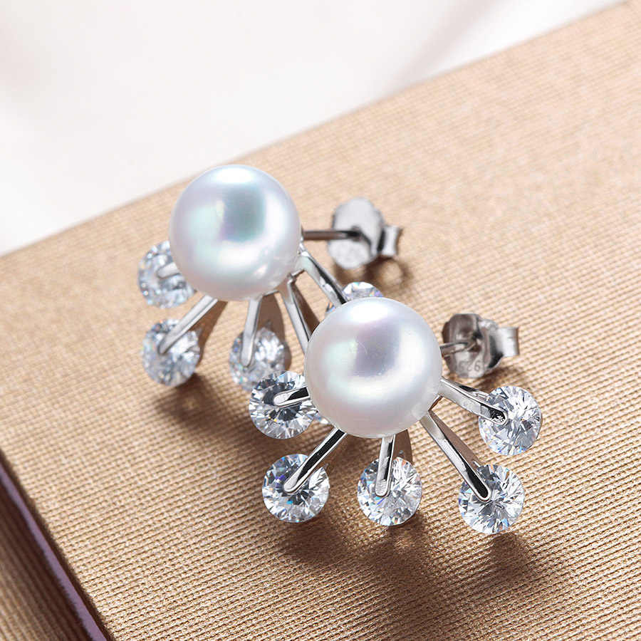 Women Fashion 4A 100% Natural Freshwater Pearl Jewelry set High Quality 925 Sterling Silver Shiny Zircon Pendant+Earrings 9-10mm