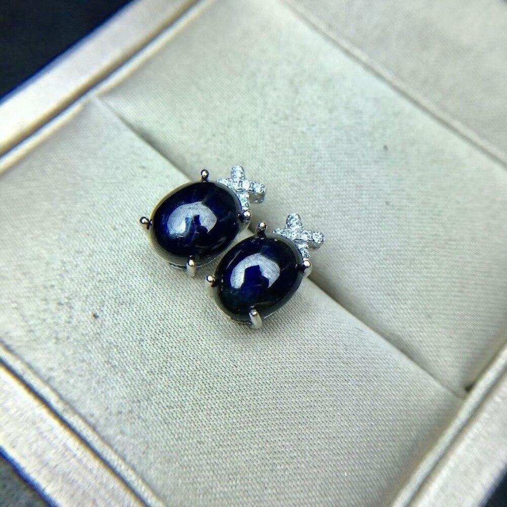 사파이어 귀걸이 자연 진한 파란색 보석 솔리드 925 실버 보석 귀걸이 여성을위한-에서귀걸이부터 쥬얼리 및 액세서리 의  그룹 1